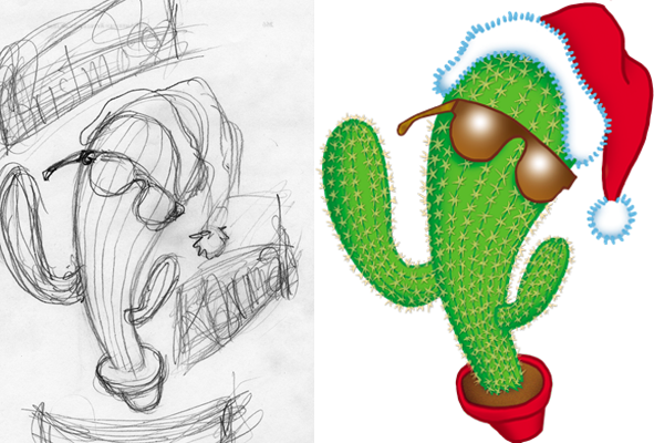 Christmas Karma book cover sketch and finished cartoon by Gary Palmatier, Ideas to Images